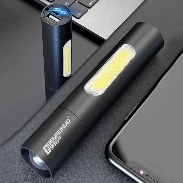 2-in-1 Portable Rechargeable Flashlight & Power Bank, with Varifocal Design, Long Battery Life & Powerful Light, for Home & Outdoors