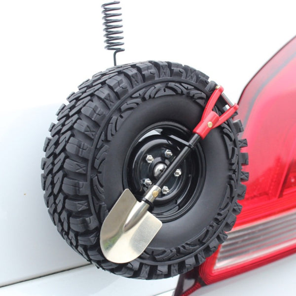 Car Decoration Gadgets, with Mini Simulation Spare Tire, Shovel, Antenna & Base, Compatible with Vehicles of All Makes and Models