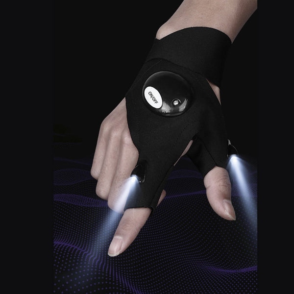 Waterproof Night Flashlight Glove, with 2 LED Flashlights, for Fishing, Repairing and Working in Darkness (1 Glove)