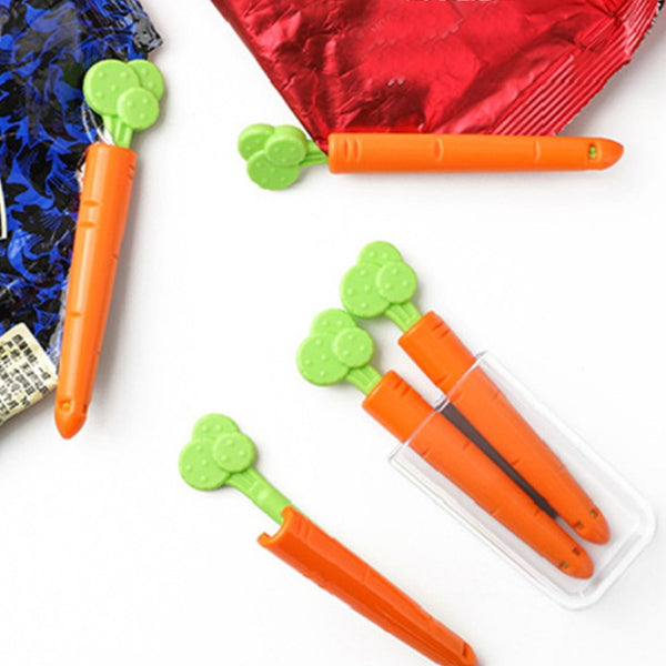 Cute Carrot Chip Clips, with Tight Seal, Carrot-shape Design & Magnetic Storage Box, for Food and Snack Bag (10pcs)