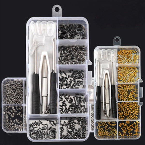 Eyeglass Optical Repair Tool Assortment Kit, with 150 Screws, Nose Pads, Screwdrivers & Cloth, for Glasses & Sunglasses