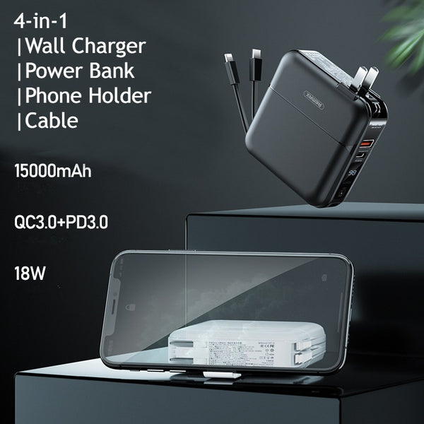 4-in-1 Fast Charging Wall Charger, with Power Bank Function, Charging Cable & Phone Adapter, for Home, Office and Travel (US Standard Plug)