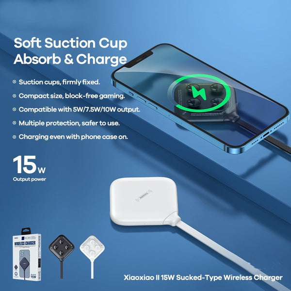 Portable 15W Wireless Charger, with Suction Cups, for Android & Apple Devices