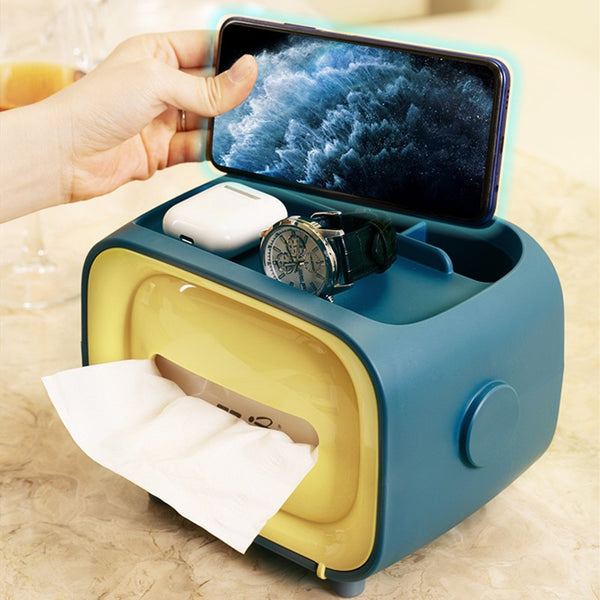 Retro TV-shaped Tissue Box, with Catchall & Phone Holder, for Home & Office