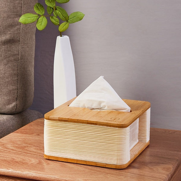 Accordion Wooden Tissue Box Cover Holder, for Home, Office, Bathroom, Kitchen & Car