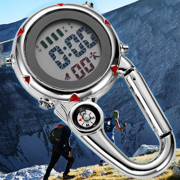Multifunctional Electronic Pocket Clip Watch, with Stopwatch, Alarm Clock, Calendar, Compass, for Hiking, Camping & More