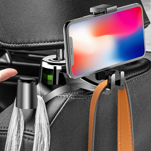 2-in-1 Universal Car Headrest Hook with Phone Holder, for Phone, Purses, Backpacks, Diaper Bags, Umbrella & Groceries (2-Pack)