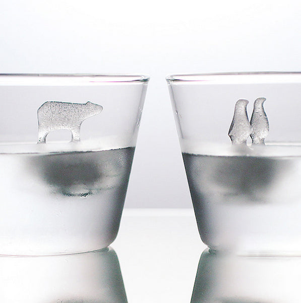 Polar Bear and Penguins Silicone Ice Mold 2pcs Set, for Party, Whisky, Cocktail & More