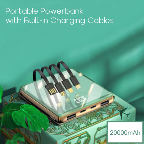 Portable 20000mAh Power Bank, with 4 Built-in Charging Cables and LED Battery Display, for Home, Office & Travel