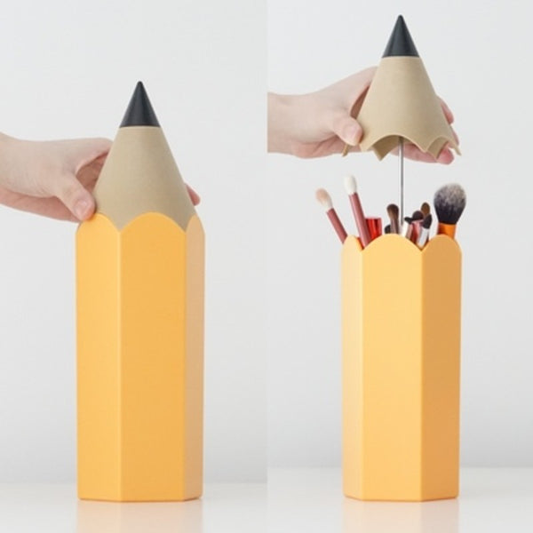 Plastic Pencil Shape Pen Organizer with Anti-dust Cap, for Pen & Makeup Brush