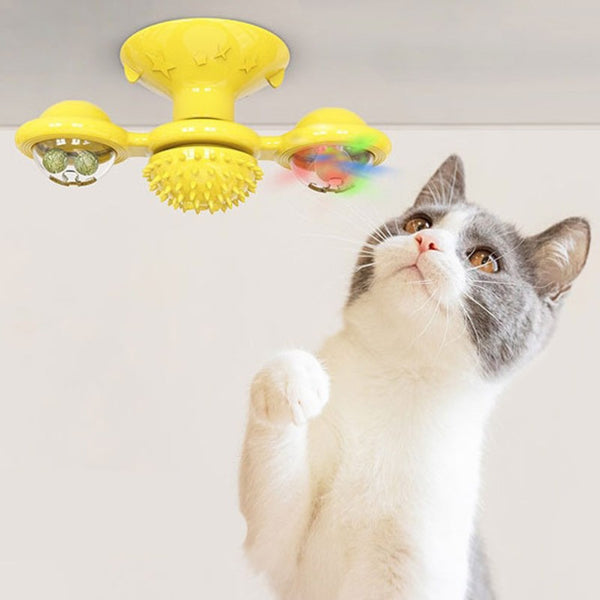 Interactive Rotate Windmill Cat Teasing Toy, with Suction Cup, Catnips, Bells & Massage Scratch Hair Brush, for Cats & Kittens