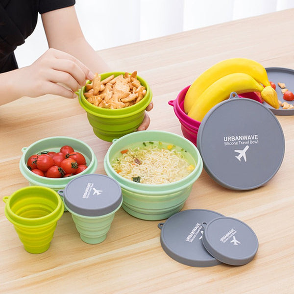 Lightweight Collapsible Silicone Bowl with Lid, for Travel and Camping