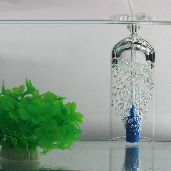 Fish Tank Oxygen Aeration, with 2 Suction Cups, Glass Shell & Air Stone, for Fish Tank & Aquarium