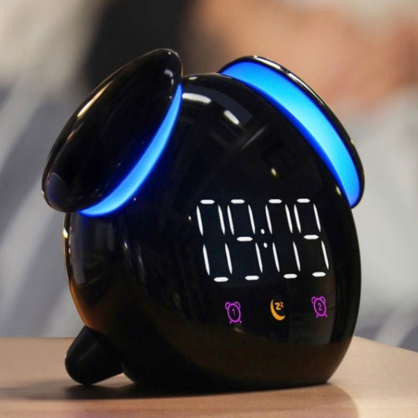 Digital Rechargeable Alarm Clock, with Colorful Light, Night Light, Clear Time Display, Multiple Ringtones & Modes