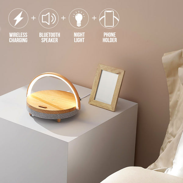 Multifunctional Bedside Table Lamp, with Phone Wireless Charger, Phone Holder, Bluetooth Speaker and Adjustable Light Brightness, for Home & Office (US Plug)