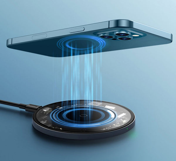 PD/QC3.0 Magnetic QI Wireless Charging Pad, with Type-C Charging Cable & Charging Indicator, for iPhone & Android Devices