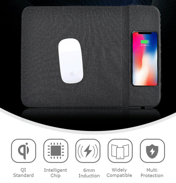2-in-1 Premium Qi-Certified 5W Fast Wireless Charging Gaming Mouse Pad with Non-Slip Rubber Base