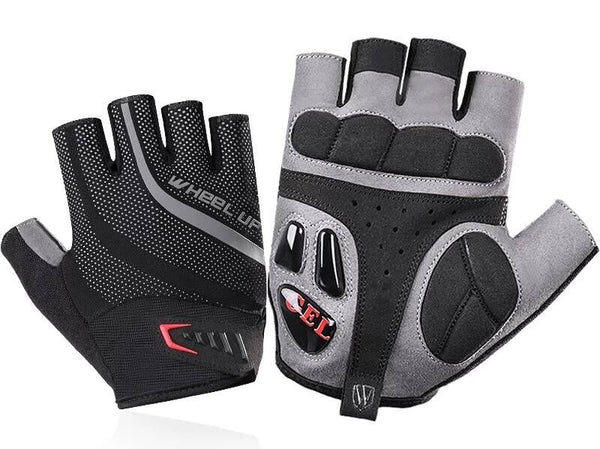 Breathable Lightweight Half Finger Bicycle Gloves with Anti Slip Shock-Absorbing Gel Pad, Mesh Palm and Adjustable Velcro Strap, for Men and Women