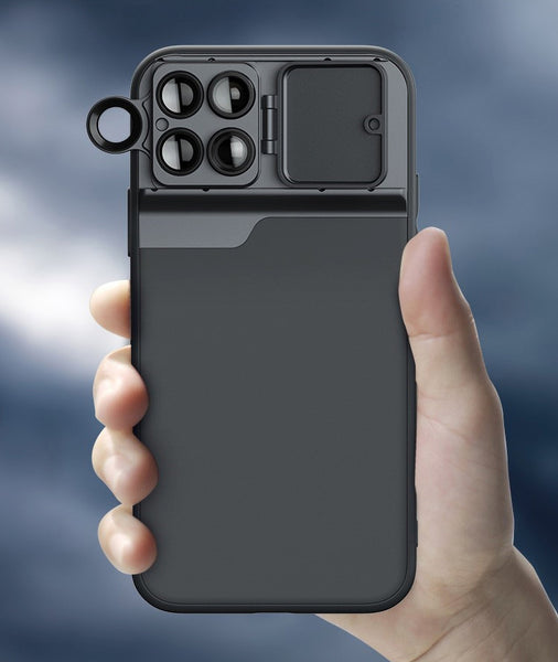 iPhone 11 Series Phone Case with Macro Lens, 180 ° Fisheye, Telephoto Lens, PCL Filter and Lens Protection Cap