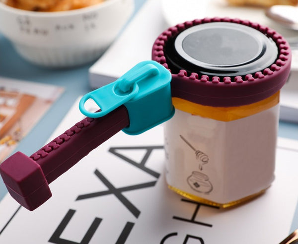 Multi-Purpose Bottle Opener with Creative Silicone Zipper Design, for Jar, Bottle and More