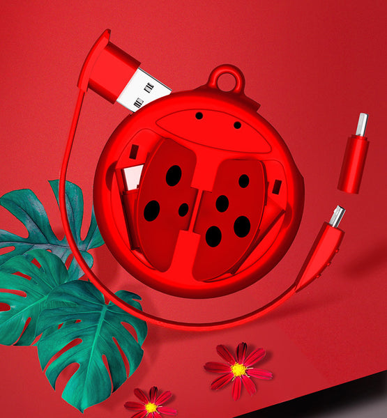 3-in-1 Portable 0.2m Charging Cable with Micro, Lightning and Type-C Cords and Cute Ladybug-shape Organizer, For iPhone, Android Phones (Red)