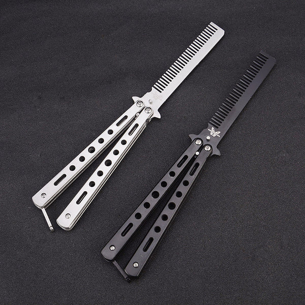 Stainless Steel Butterfly Knife Comb, Also An Outdoor Camping Practice Comb & Knife Without Blades