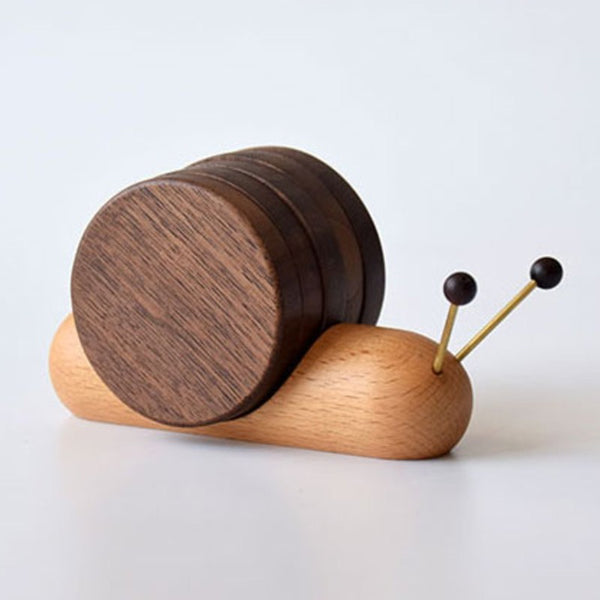 Cute Wood Cup Coaster, with 5 Pieces and Snail-shaped Holder, for Cup, Mug, Bowl & More