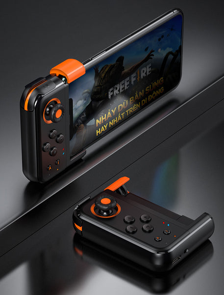 Wireless Bluetooth Mobile Game Controller with Flexible Joystick, Programmable Buttons & Ambient Light, for Samsung, Xiaomi, Huawei, Android and iPhone