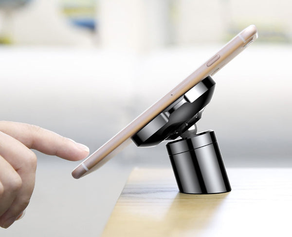 Sleek 360° Magnetic Car Mount with QI Wireless Charging