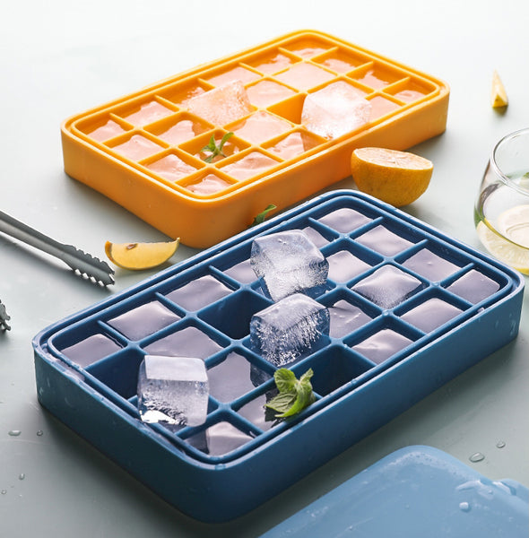 Silicone Ice Mold with 12 Hexagon or 24 Square Cavities, with Food Grade Silicone, Dustproof Lid, Dishwasher Safe and Easy to Demold