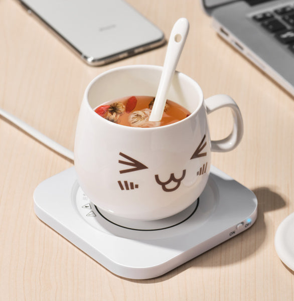 55°C Smart Water Cup Heating Coaster, with USB Power Supply, Fast Thermal Conductivity Technology, Long-lasting Thermal Insulation Function, Support for Cups of Different Materials and Milk, Coffee and Other Beverages