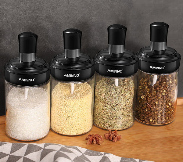 Spice Shakers With Spoon For Liquid & Solid Condiment