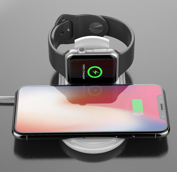 Charge Your Smartphone & Apple Watch in Style with 2-in-1 Wireless Charging Pad
