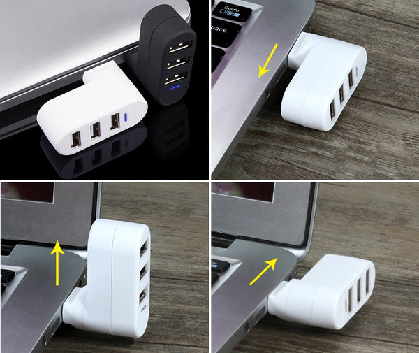 The Most Convenient 180 Degree Rotatable 3-Port Ultra-Mini USB Hub
