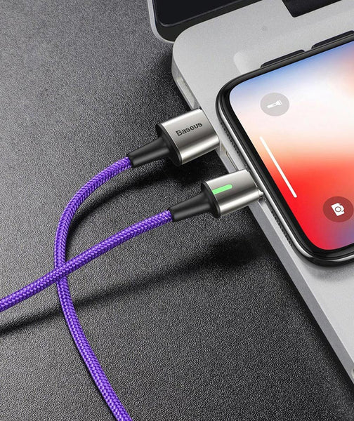 3-in-1 Magnetic Phone Charger Cable with Lightning, Type-C & Micro USB Socket, Nylon Braided Cable, Fast Charging & LED Indicator, Support File Transfer
