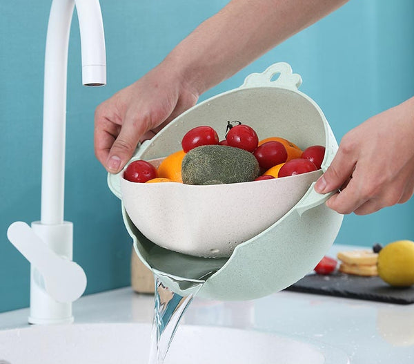 2-in-1 Multifunction Kitchen Strainer and Bowl Set with Double-layer and 360° Rotatable Design, for Cleaning Mixing Fruits, Vegetables and More