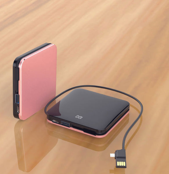 Smaller Than Tiny 8000mAh Wireless & Wired Power Bank with Cross-device Cable