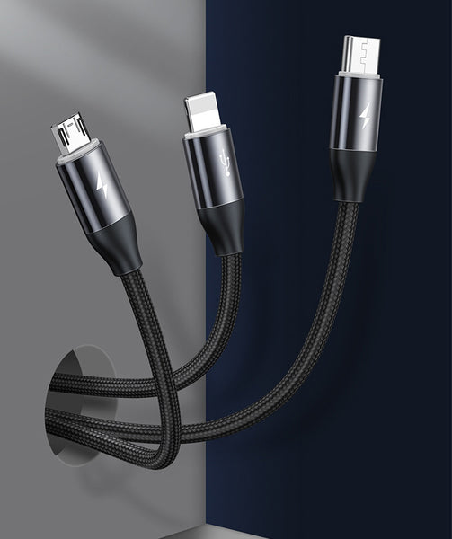 3-in-1 Magnetic Multiple USB Charging Cable With Micro, Light & Type C