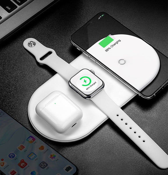 3-in-1 Wireless Charger Board with Smart Adaptable Current, Status Indicator, Multiple Protection, Stable Magnetic Attraction, for iPhone, AirPods and iWatch