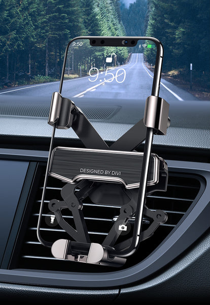 No Noise Gravity Phone Mount For Universal Air Vent, Compatible iPhone, Samsung, Huawei And More