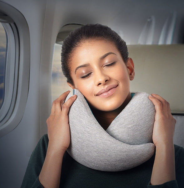 Portable Neck Support Pillow with Memory Foam Core and Washable Sleeve, for Travel, Office, Study and More