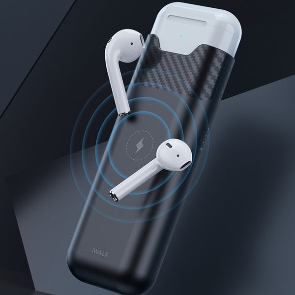 Portable AirPods Wireless Charging Case & iPhone Wireless Charger, with Multiple Charging Protection, 5200mAh Lithium Battery and Bidirectional Charging, for iPhone and AirPods