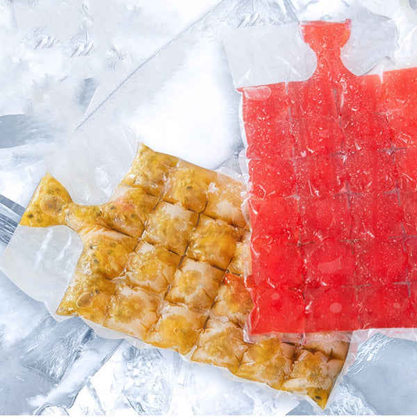 Disposable Ice Cube Self-Sealing Bags, with Silicone Funnel and Food-Grade PE Material, for Ice, Juice and Wine Cubes
