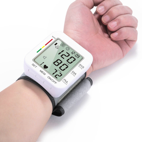 Rechargeable Electronic Wrist Blood Pressure Monitor, with Accurate Fast Reading, Large Display & One Touch Operation, for Home Use