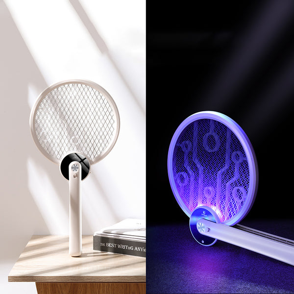 Portable Foldable 2-in-1 Electric Mosquito Swatter with Ultraviolet Mosquito Trap Lamp, Rechargeable Design and Dense Net, for Indoor, Outdoor and Office