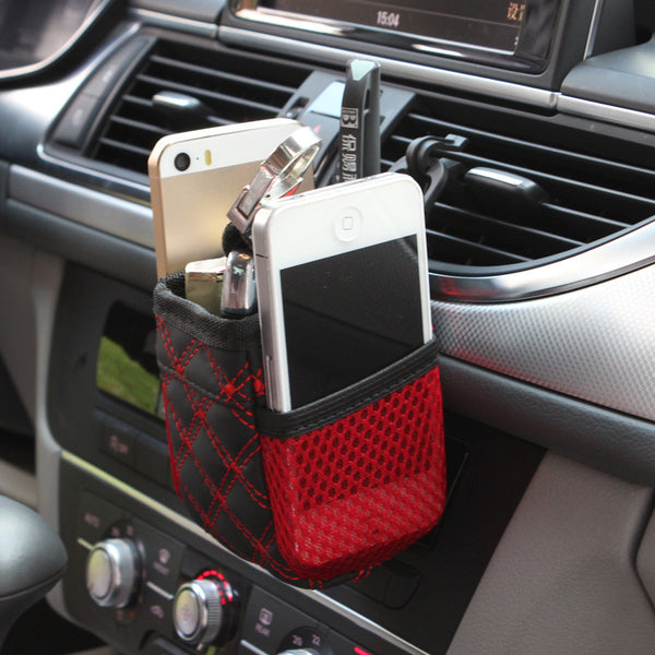 Mini Car Air Vent Storage Bag For Coins, Keys, Phones, Sunglasses And Cup Holder
