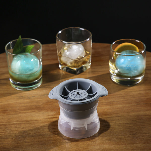 Reusable Sphere Silicone Ice Cube Tray For Whisky, Scotch, Highball Cocktail & Liqueur Glass