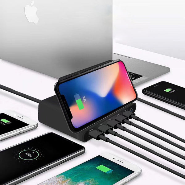 Go Wired and Wireless with 8-in-1 USB & Type-C Fast Charger