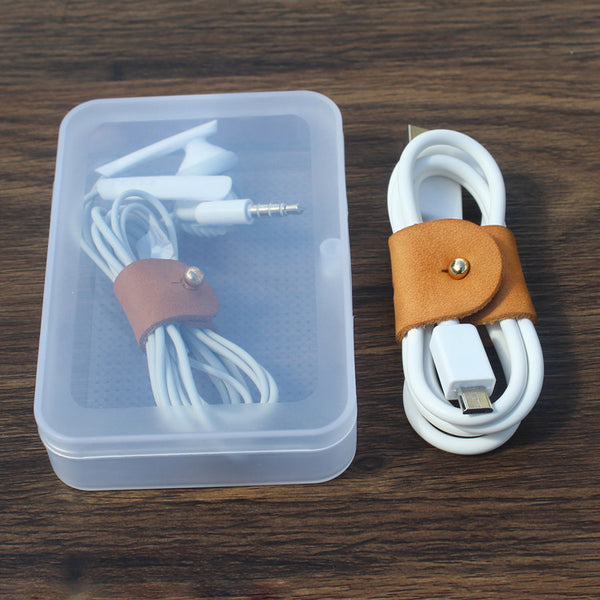 Reusable Full-grain Leather Cord/Cable Organizers, for Travel, Work and Home (Include 2 Straps & 1 Box)