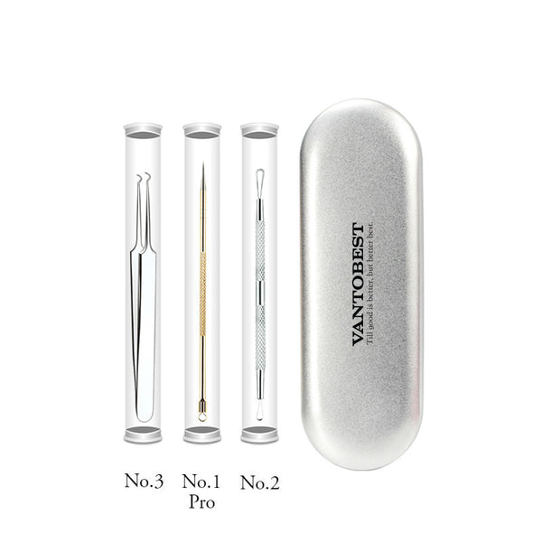 6-in-1 Portable & Safe Blackhead / Acne / Pimple Remover Tool Set with Metal Case, for Blemish, Whitehead Popping, Zit Removing